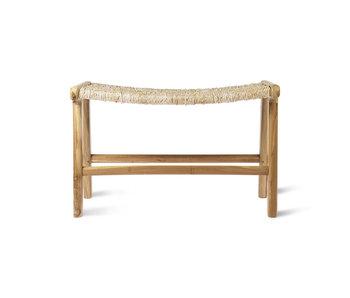 HK-Living Abaca / teak wood ottoman