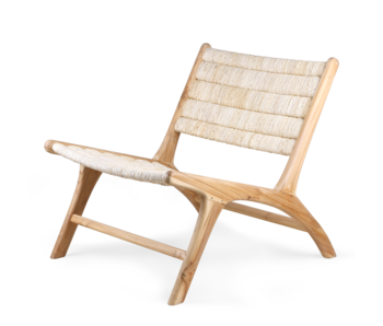 HK-Living Abaca / teak wood lounge chair