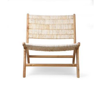 HK-Living Abaca / teak wood lounge chair