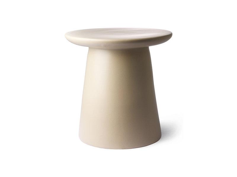 HK-Living Earthenware side table cream / natural
