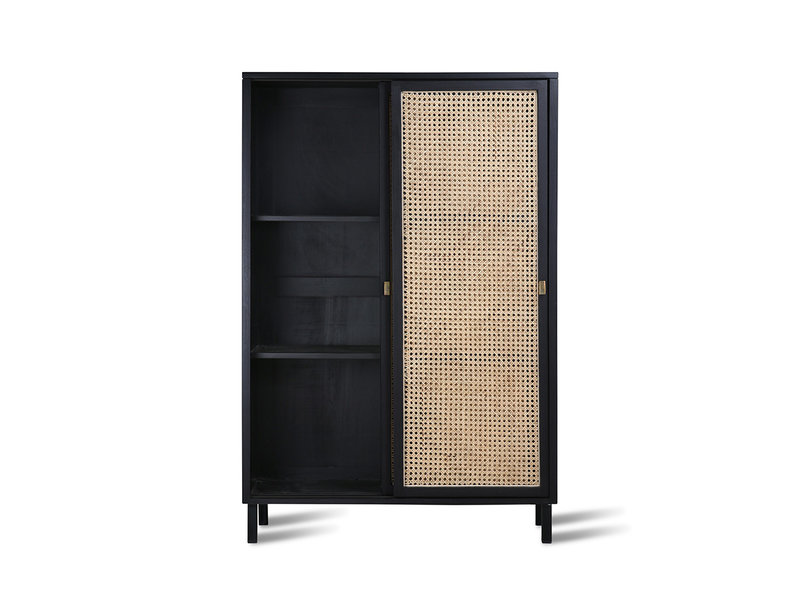 HK-Living Retro webbing cabinet with black sliding doors