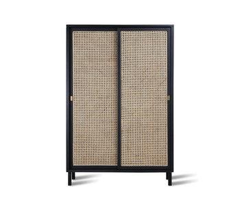 HK-Living Mueble retro de cincha con puertas correderas negras.