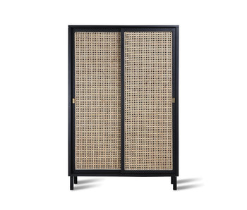 HK-Living Retro webbing cabinet with black sliding doors