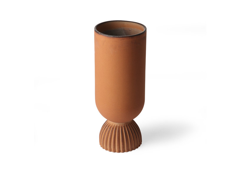 HK-Living Ribbed ceramic flower vase rustic orange