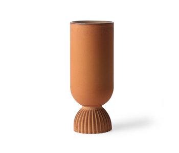 HK-Living Vase à fleurs en céramique nervuré orange rustique