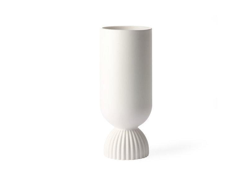 HK-Living White ribbed ceramic flower vase