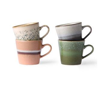 HK-Living Cappuccino-Becherset aus Keramik der 70er Jahre