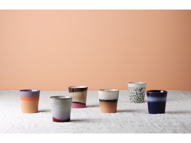 HK-Living Ceramic 70's mugs air - set of 6 pieces