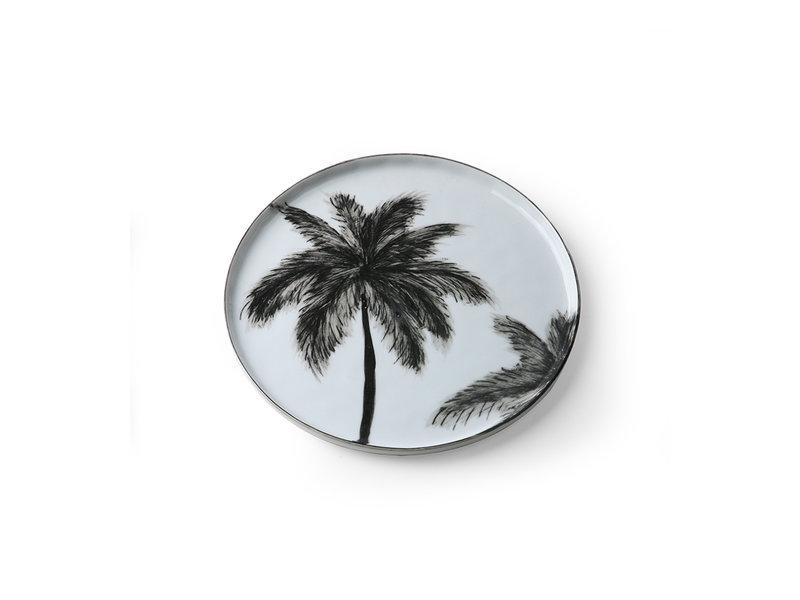 HK-Living Bold & Basic keramiek - palms borden - set van 6 stuks