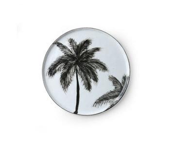 HK-Living Bold & Basic Keramik - Palmen Teller - Set von 6 Stück