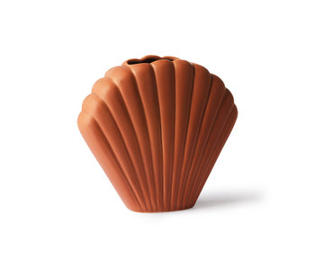 HK-Living Shell keramieken vaas bruin - medium