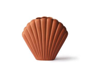 HK-Living Jarrón de cerámica de concha marrón - mediano