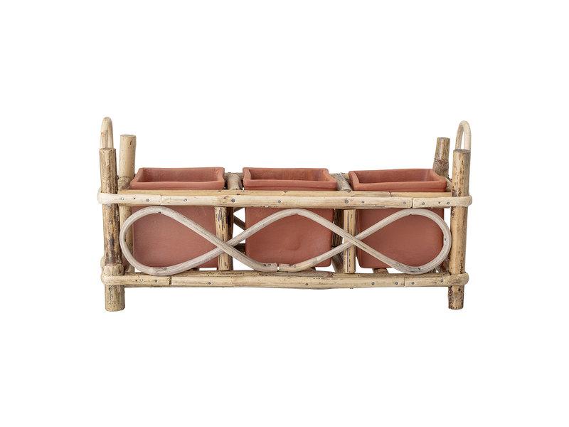 Bloomingville Macetas de terracota de bambú