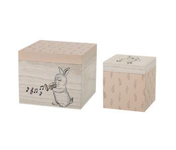 Bloomingville Mini Cajas de almacenamiento rosadas - juego de 2