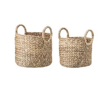 Bloomingville Panier de jacinthe d'eau naturel - lot de 2
