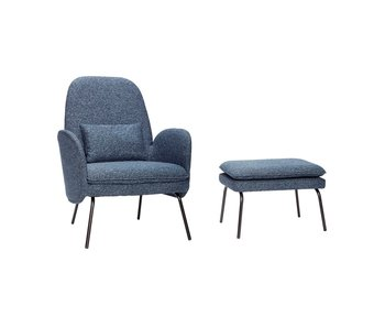 Hubsch Armchair with footstool - blue