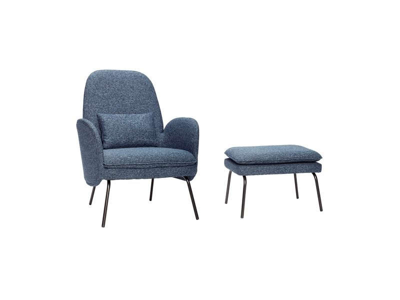 hubsch armchair with footstool blue