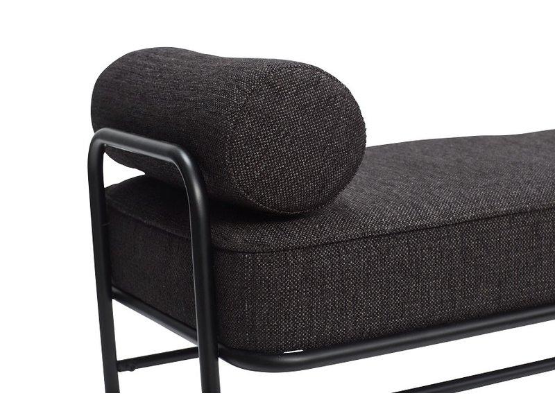Hubsch Sofá de metal / madera - negro con cojines incluidos