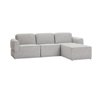Hubsch Sofa modular light gray 3-seater with ottoman