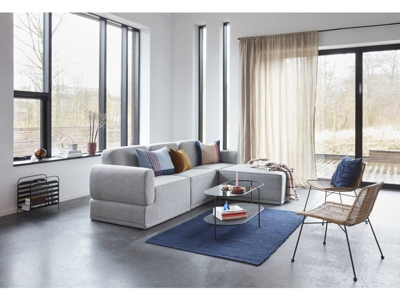 Hubsch Modulær sofa lys grå 3-seters med ottomansk