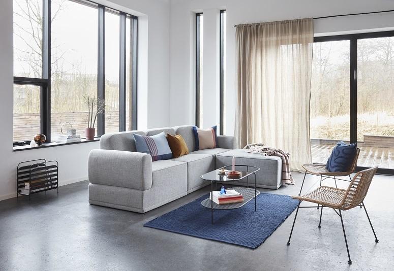 Canapé modulable gris clair 3 places avec pouf