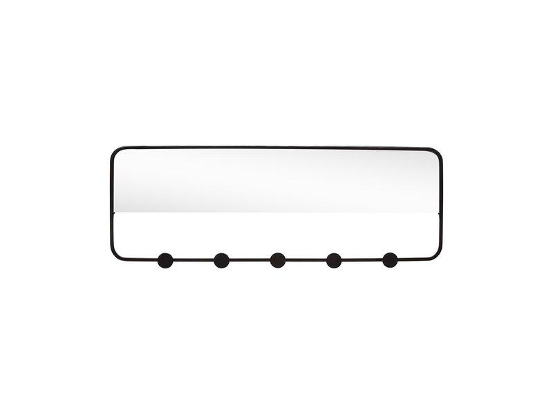 Hubsch Coat rack with mirror - black