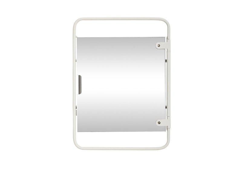 Hubsch Veggenhet med metallspeil - hvit