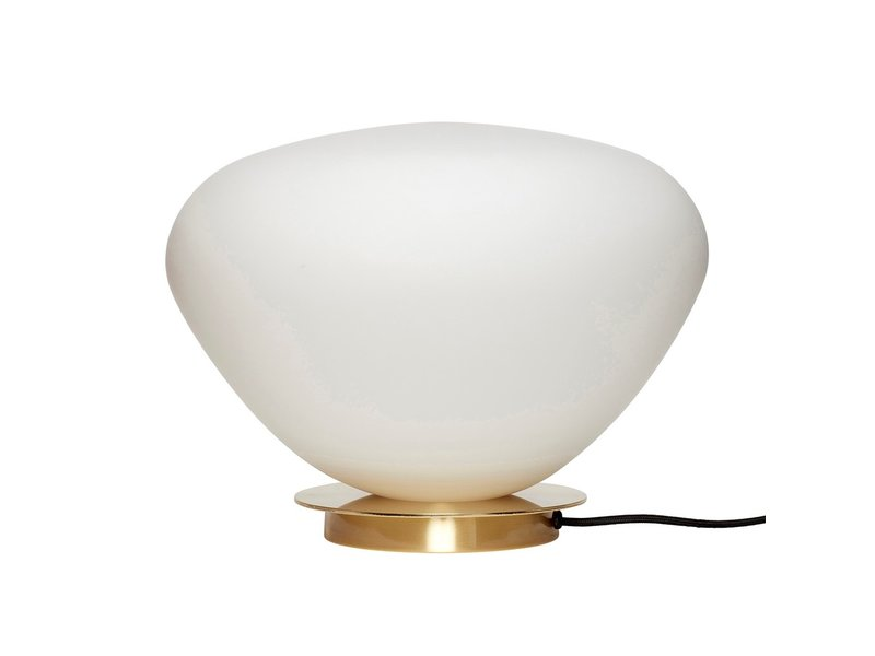 Hubsch Tafellamp glas/metaal - messing/wit
