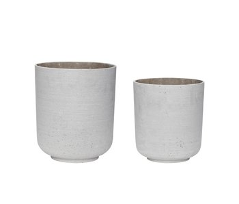 Hubsch Flowerpot light gray - set of 2 pieces