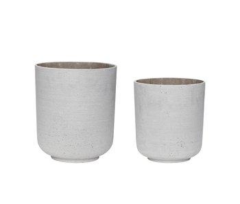 Hubsch Pot de fleurs gris clair - set de 2 pièces