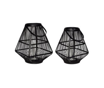 Hubsch Lantaarns bamboe zwart- set van 2 stuks