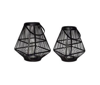 Hubsch Lanterne bambus sort - sæt af 2 stk