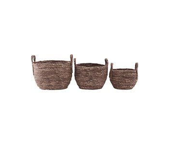 House Doctor Arran brown / red baskets - set of 3 pieces