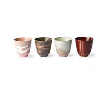 HK-Living Kyoto yunomi kopjes - set van 4 stuks