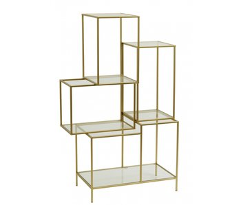 Nordal Rack with glass shelves - gold