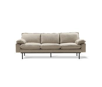 HK-Living Retro 3-sitsig mysig beige soffa