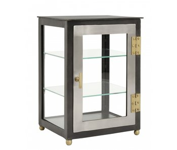Nordal Glass cupboard with 2 doors - gray