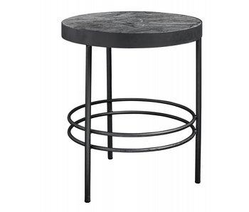 Nordal Midnatt sidobord runt marmor - svart