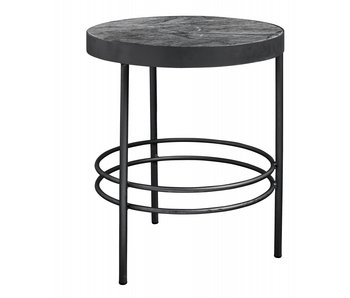 Nordal Midnight side table round marble - black