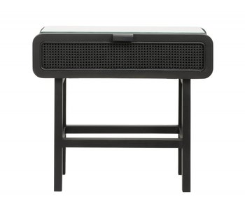 Nordal Merge teak console table with webbing - black