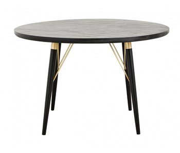 Nordal Round dining table - black wood