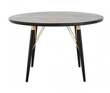 Nordal Table à manger ronde - bois noir
