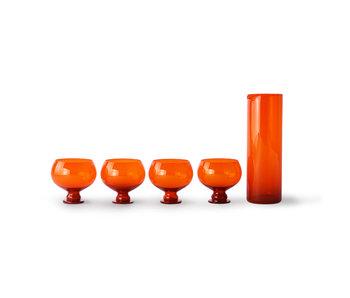 HK-Living Ensemble de verres orange funky