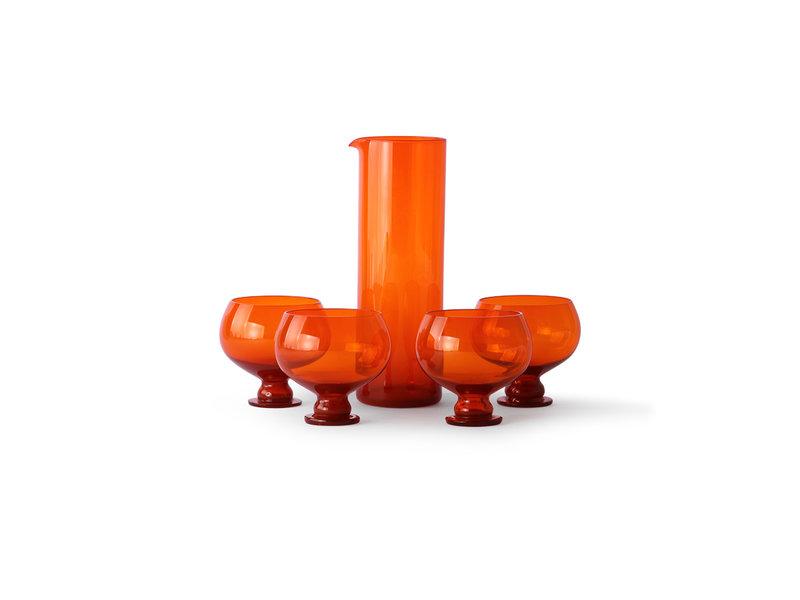 HK-Living Funky oranje glazen set