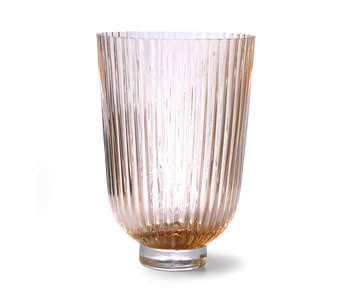 HK-Living Glass vase ribbed - peach