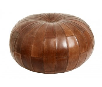 Nordal Rugby leather ottoman - antique brown