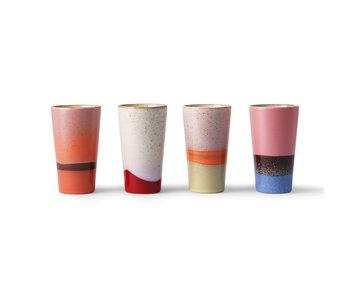 HK-Living Keramik 70er Jahre Latte Tassen - Set mit 4 Stück