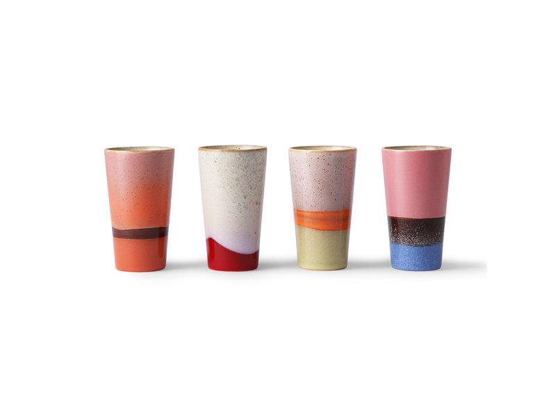 HK-Living Keramieken 70's latte mokken - set van 4 stuks