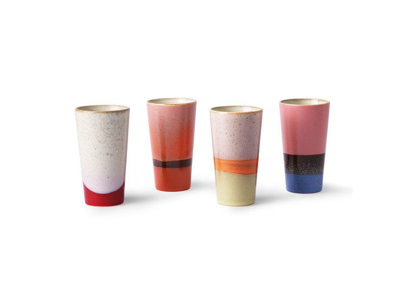 HK-Living Ceramic 70's latte mugs - set of 4 pieces