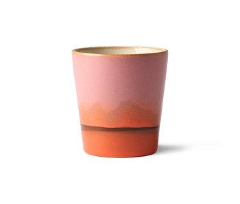 HK-Living Keramik 70er Jahre Tassen Mars - Set von 6 Stück